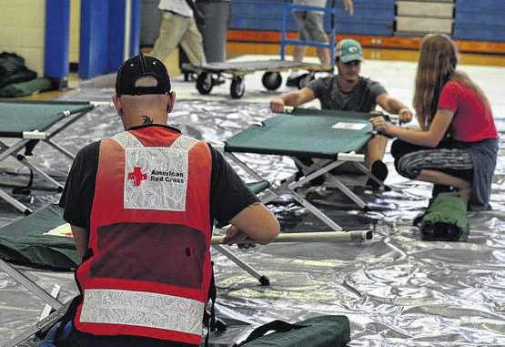 Red Cross volunteers helping out with Florence disaster relief