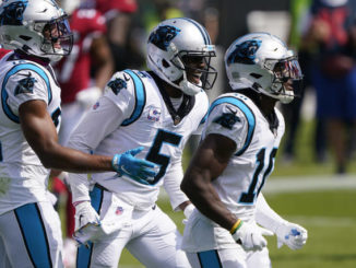 Carolina Panthers quarterback Teddy Bridgewater (5) celebrates after scoring against the Arizona Cardinals during the first half of an NFL football game Sunday, Oct. 4, 2020, in Charlotte, N.C.                                  Brian Blanco | AP Photo