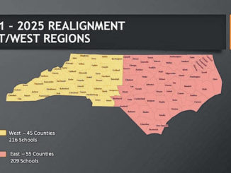 The NCHSAA regional map shows how the state is divided into two regions for realignment classifications.                                  Contributed Photo