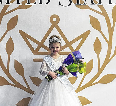 Courtesy photo                                 Elizabeth Newton, 6, attended America's United States Pageant on Jan. 9 in Albemarle and won the Little Miss crown and the People's Choice crown.