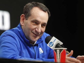 FILE - In this March 28, 2019, file photo, Duke head coach Mike Krzyzewski answers questions during a news conference at the NCAA college basketball tournament in Washington.                                  Martinez Monsivais | AP File Photo