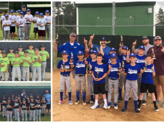 Optimist youth baseball 10u winners: First place-Norris Auto Sales (right), second place: McDuffs (bottom-left), Shirttales (middle-left) and Community Drug (top-left).                                  Contributed Photos