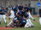 Wingate players celebrate on the field after picking up the final out to win the NCAA Division II national championship on June 12.                                  Photos courtesy of Wingate Athletic Communications